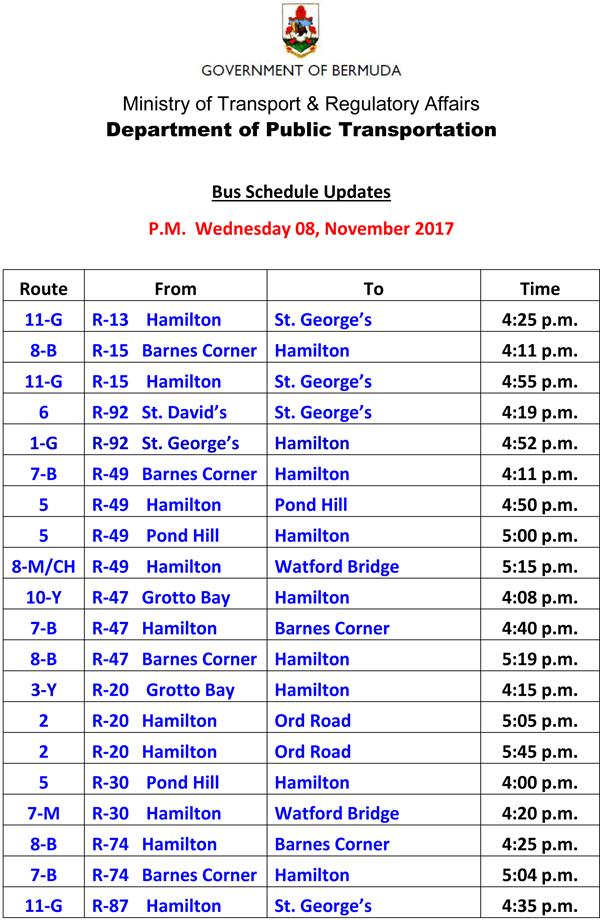 Bus Schedule Updates Wednesday 8 November 2017-1