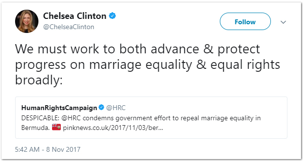 Chelsea Clinton tweet Bermuda Nov 8 2017