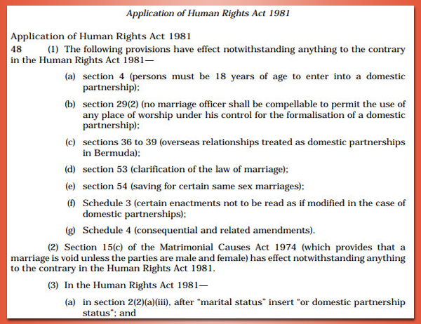 Application of Human Rights Act 1981 4