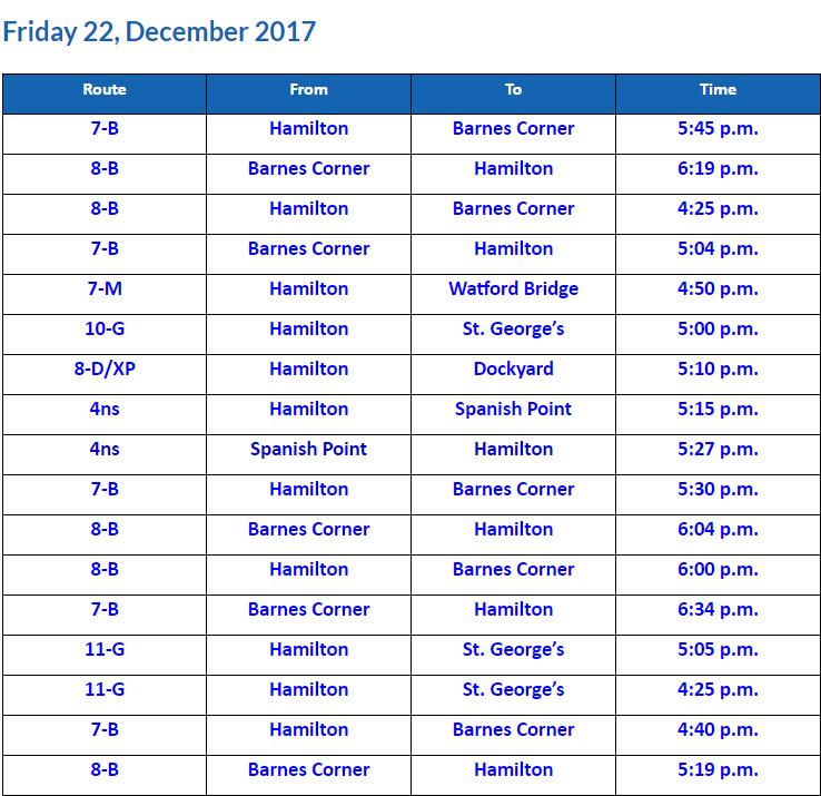 Bus Cancellations PM Dec 22 2017