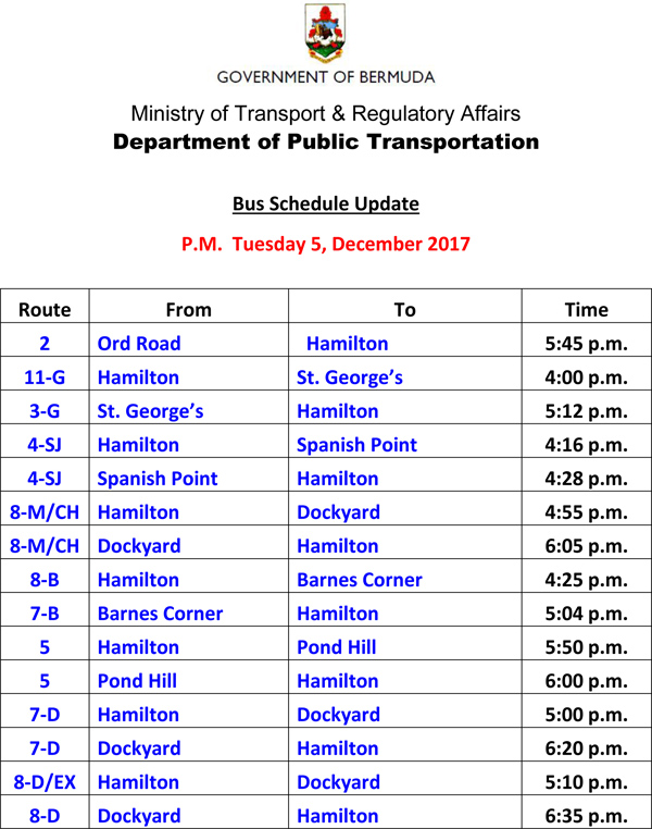 Bus Scheduel Update Tuesday 5 December 2017-2