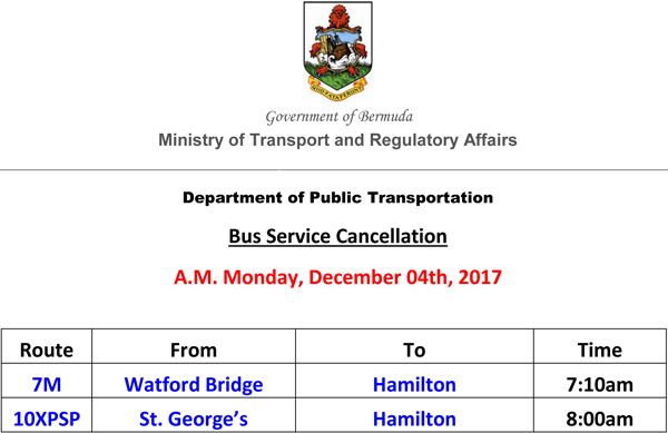 Bus Service Cancellation List for David December 04th, 2017 AM