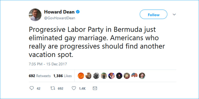 Howard Dean tweet Boycott Bermuda