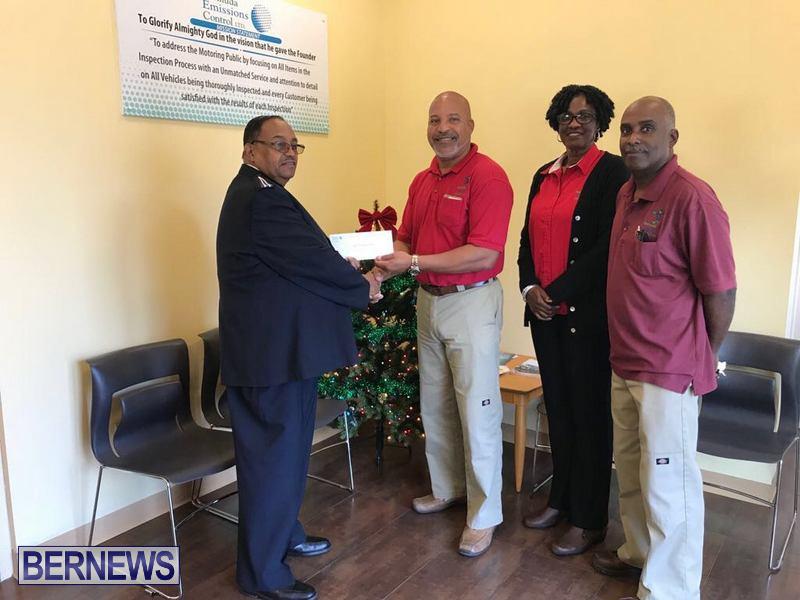 Salvation Army Calvin Ming Bermuda Emissions Control Ltd Shannon Robinson, Winnie Butterfield and Ed Harris