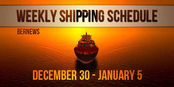 Weekly Shipping Schedule TC Dec 30-Jan5