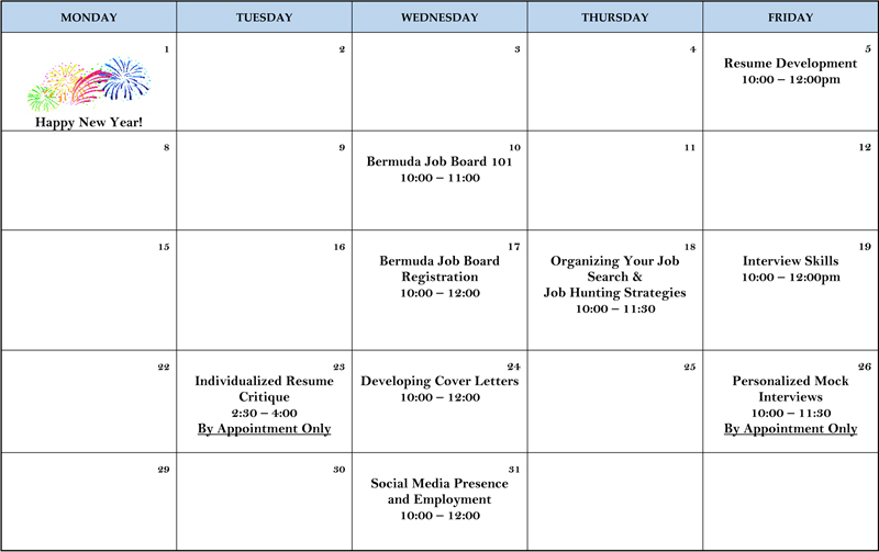 Training Calendar Bermuda Jan 2018