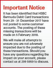 Delayed Posting Of HSBC Card Transactions - Bernews