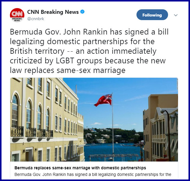 Bermuda bans same-sex marriage, allows domestic partnerships instead