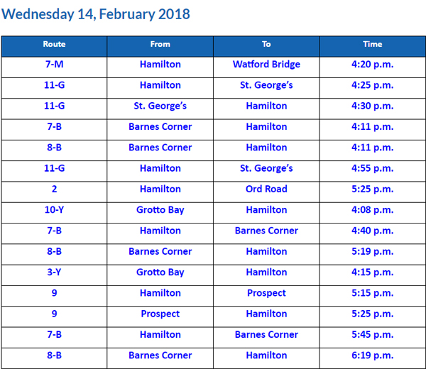 Bus Cancellations PM February 14 2018