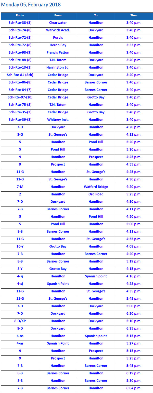 Bus Cancellations PM February 5 2018