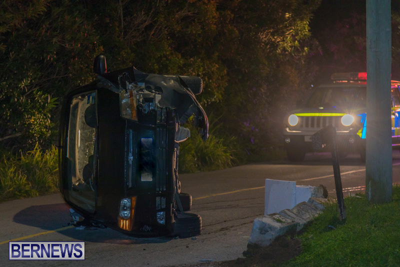 Car On Side Collision Bermuda, February 17 2018 (1)