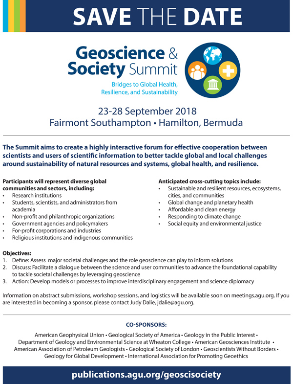 Geoscience and Society Summit Bermuda Feb 2018