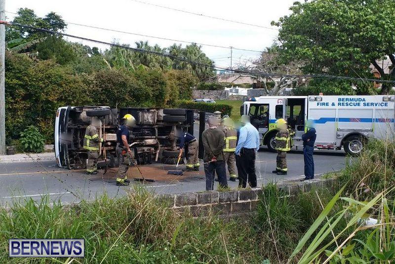 Overturned Truck Warwick Bermuda, February 28 2018