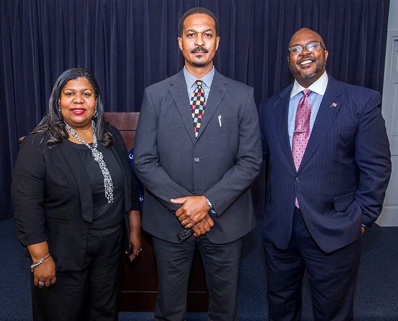 Smith, Spriggs and Minister Simmons Bermuda Feb 20 2018