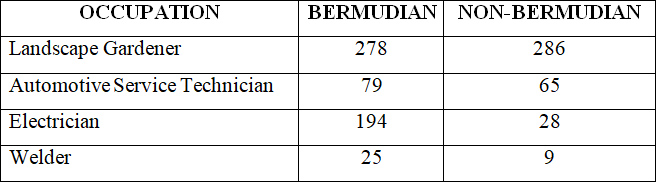 Totals by occupation Bermuda Feb 2018