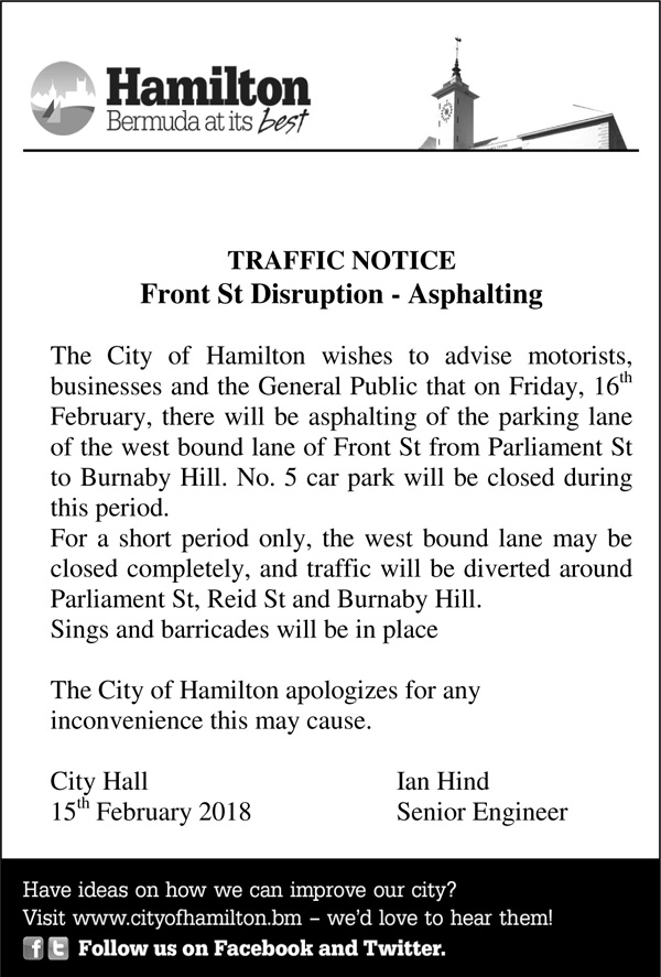 Microsoft Word - Traffic Notice - Front St - Asphalting