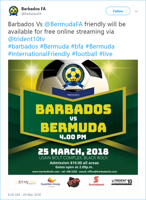 Barbados tweet Bermuda March 22 2018