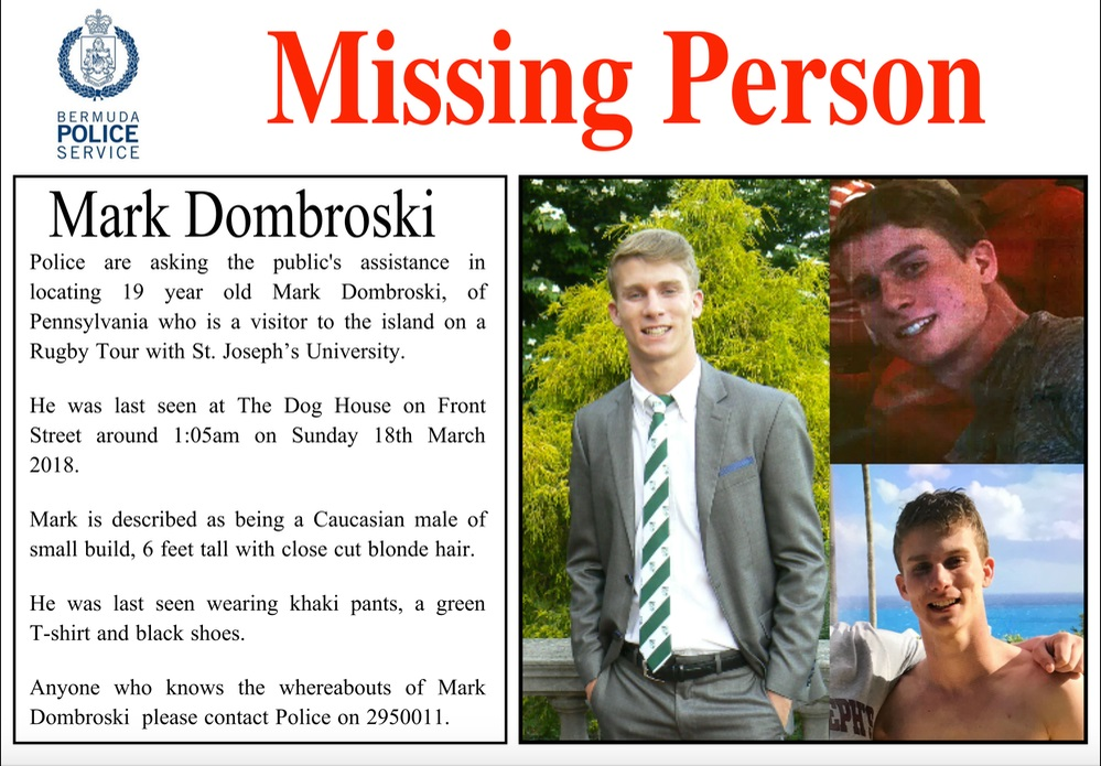 United States college student missing in Bermuda