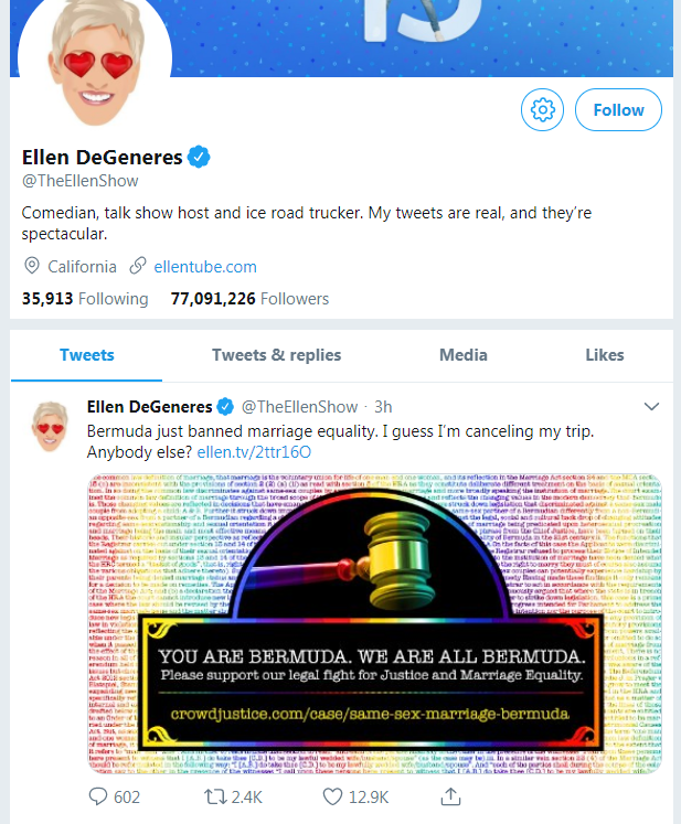 Tweets by Ellen DeGeneres