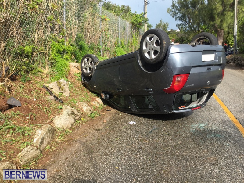 collision overturned car crash St Davids Bermuda March 4 2018 (4)