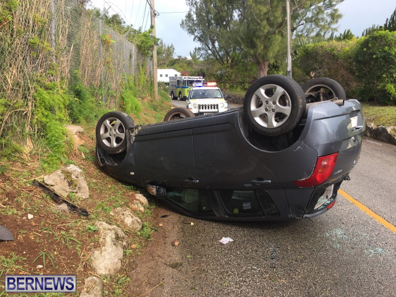 collision overturned car crash St Davids Bermuda March 4 2018 (5)