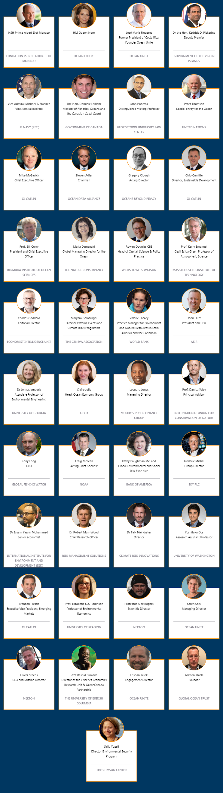 speakers 2018 Bermuda Ocean Risk Summit