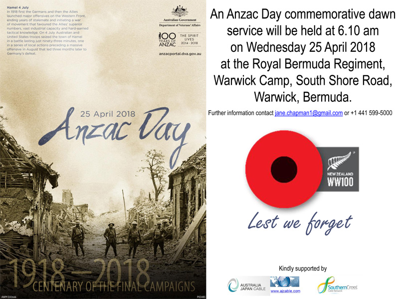 Dawn Service at 6.10 am Wednesday 25 April 2018 at Royal Bermuda