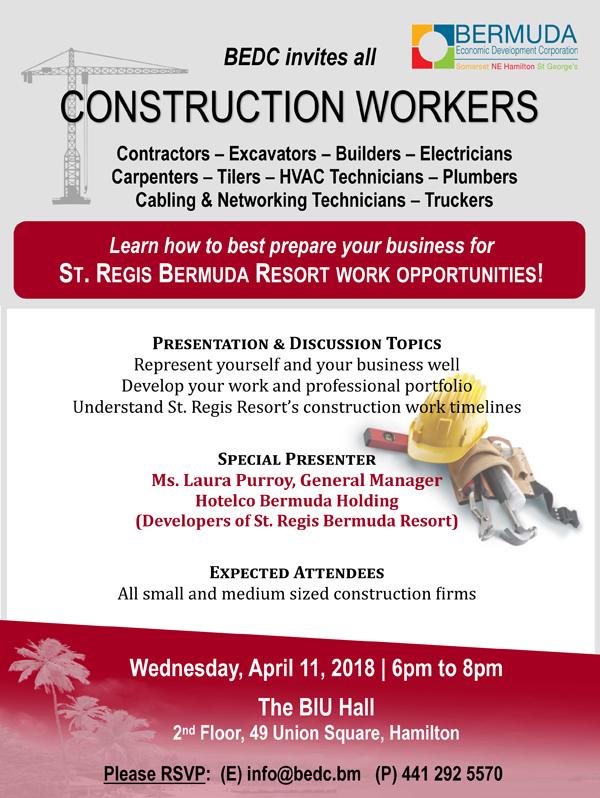 Construction Workers' Seminar Bermuda April 2018