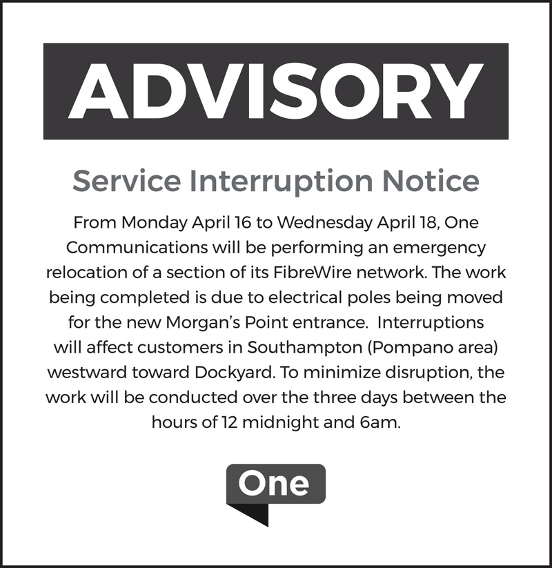 One Service Interruption Notice Bermuda April 2018