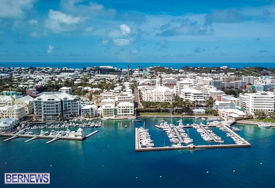 158 The Hamilton Waterfront and Royal Bermuda Yacht Club as seen from the air