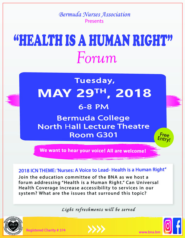 Health is a Human Right Forum 2018 Flyer Bermuda May 28 2018