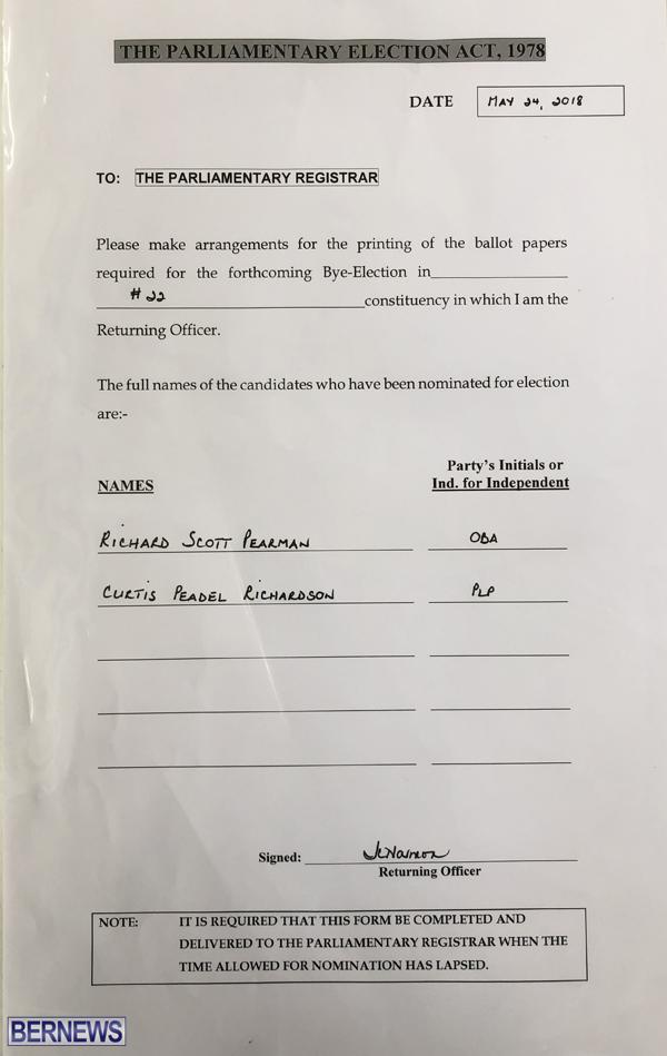 Paget nominations paper Bermuda May 2018