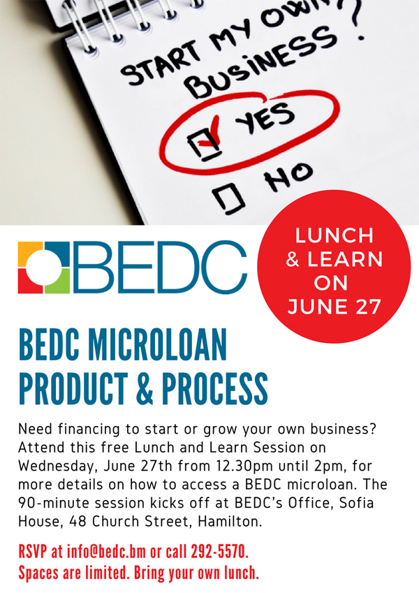 BEDC Microloan Lunch and Learn Bermuda June 2018
