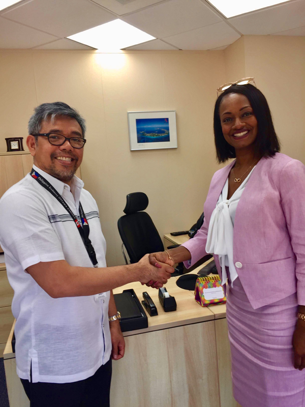 Consul Jeff Salik and Junior Minister Crystal Caesar Bermuda May 2018