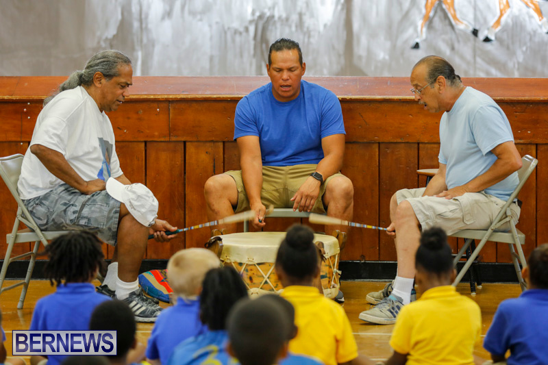 Pow Wow Native Drummers Visit St David's Primary School Bermuda, June 8 2018-9831