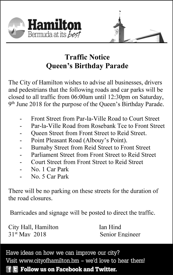 Traffic Notice Queens Birthday Parade Bermuda June 2018