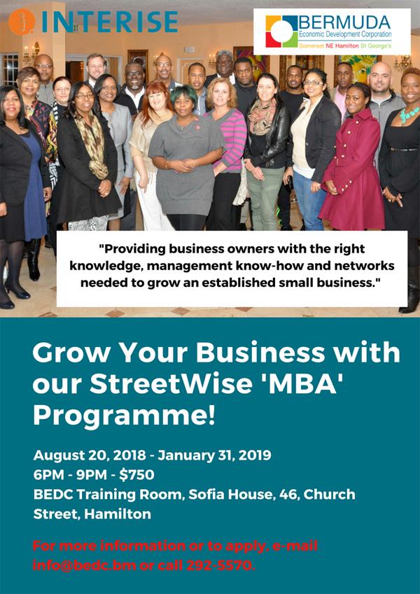 BEDC StreetWise MBA programme Bermuda July 2018