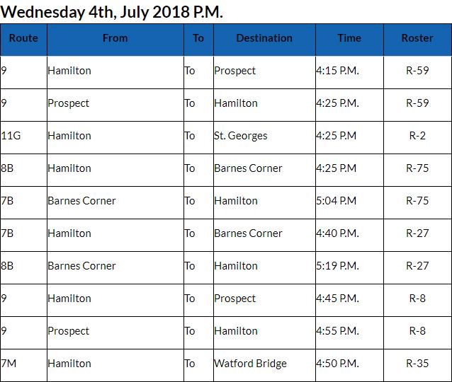 Bus Cancellations PM Bermuda July 4 2018