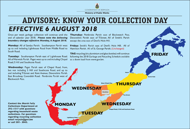 Revised Trash Collection Map Bermuda July 2018