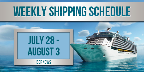 Weekly Shipping Schedule TC July 28 - August 3 2018