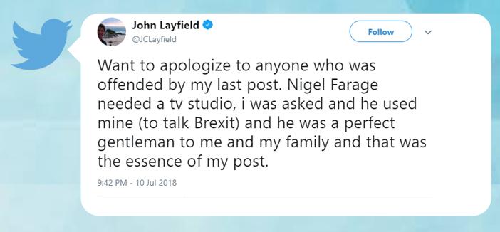 tweet screenshot John Layfield Bermuda July 10 2018