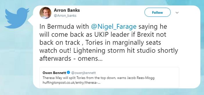 tweet screenshot aaron banks Bermuda July 10 2018