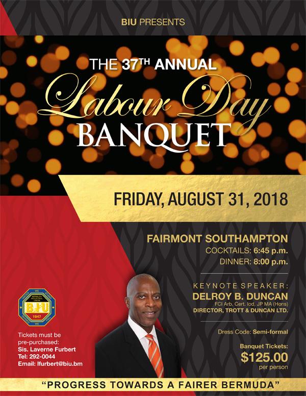 BIU Labour Day Banquet Bermuda August 2018