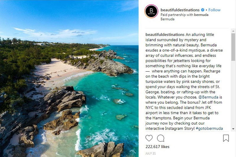 Beautiful Destinations on Instagram Bermuda August 2018