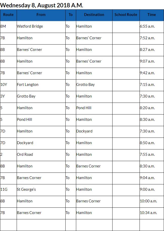 Bus Cancellations AM Bermuda August 8 2018