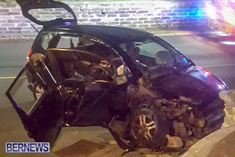 Car Wall Collision Bermuda, August 25 2018-25-2
