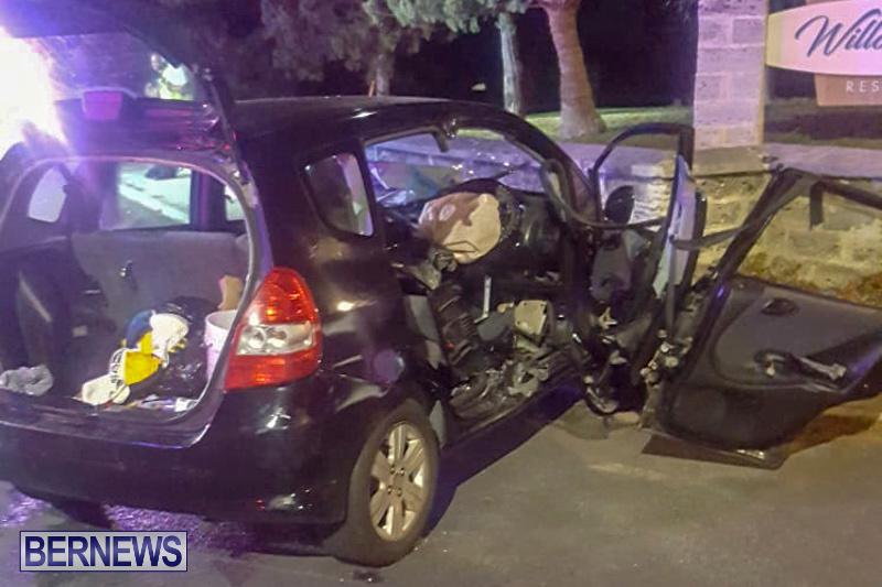 Car Wall Collision Bermuda, August 25 2018-26
