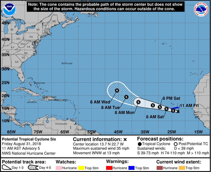 NHC Potential Tropical Cyclone Six August 31 2018