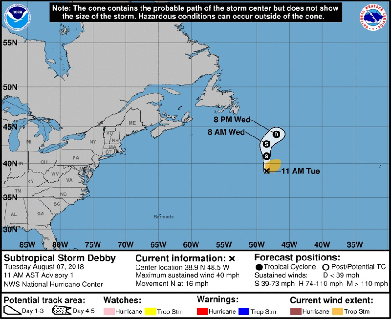 NHC Subtropical Storm Debby August 2018