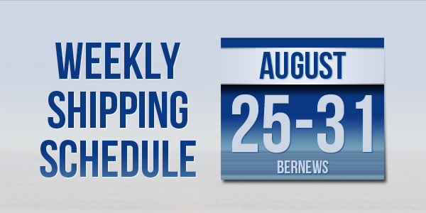 Weekly Shipping Schedule TC August 25 - 31 2018